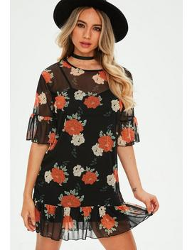 Black Floral Mesh Short Sleeve Tshirt Dress by Missguided