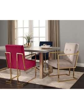 Abbyson Fraser Gold Metal And Velvet Dining Armchair Chair by Abbyson
