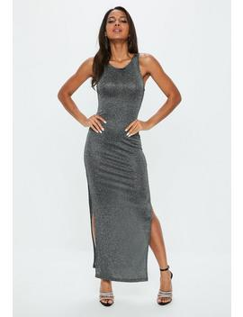 Petite Silver Metallic Racer Back Dress by Missguided