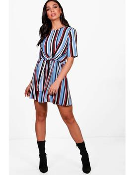 Edith Tie Front Knot Stripe Shift Dress by Boohoo