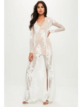 Nude Plunge Embroidered Fishtail Maxi Dress by Missguided