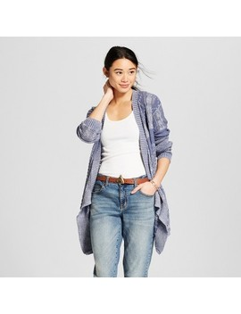 Women's Long Sleeve Cable Stitch Drape Front Cardigan   Knox Rose™ Slate Blue by Knox Rose™