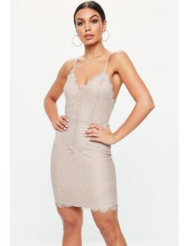 Lilac Lace Nude Underlay Midi Dress by Missguided
