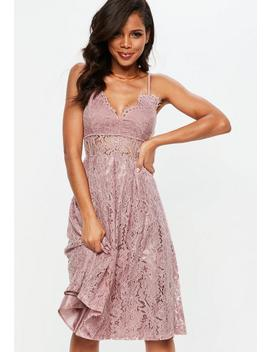 Pink Lace Strappy Midi Skater Dress by Missguided