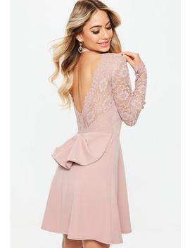 Bridesmaid Pink Backless Lace Bow Detail Skater Dress by Missguided