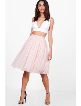 Boutique Indira Polka Dot Tulle Full Midi Skirt by Boohoo