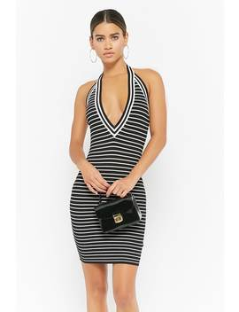 Striped Halter Bodycon Dress by Forever 21