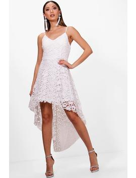 Boutique Lacey Lace Dip Hem Skater Dress by Boohoo