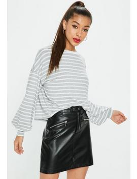 Grey Drop Shoulder Boxy All Over Stripe Top by Missguided