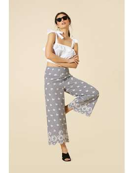 Gingham Floral Embroidered Gaucho Pants by Forever 21