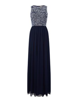 High Neck Embellished Maxi Dress by Lace And Beads