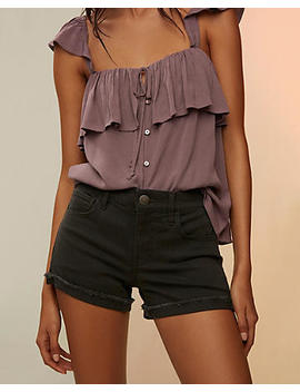 Mid Rise Supersoft Raw Hem Shorts by Express