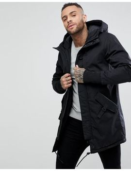 Pull&Bear Quilted Parka With Hood In Black by Pull&Bear