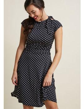 Dance Floor Date A Line Dress In Black Dots Dance Floor Date A Line Dress In Black Dots by Retrolicious