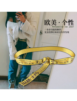 Fashion Cloth Belt Letters Young Men And Women Belt Embroidery Decoration Joker 2 Ring Metal Yellow Belt Off White Belt by Xirang Store