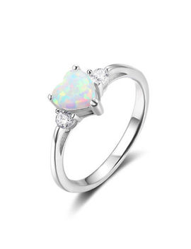 Women's 925 Silver Filled Heart Fire Opal Gems Ring Wedding Bridal Jewelry #6 10 by Unbranded