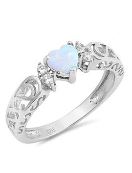 Women's 925 Silver Filled White Fire Opal Heart Design Gems Rings Jewelry #6 10 by Unbranded