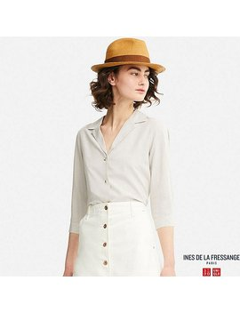 Women Idlf Rayon Open Collar Long Sleeve Blouse by Uniqlo
