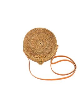 Bali Harvest Round Woven Ata Rattan Bag With Bow Clasp by Bali Harvest