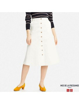 Women Idlf Denim Flared Midi Skirt by Uniqlo