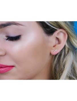 Gold Bar Earrings, Tiny Line Studs, Stud Earrings, Staple Earrings   14 K Yellow Or White Gold, Celebrity Inspired by Etsy