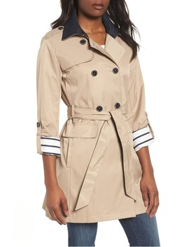 Contrast Collar Trench Coat by Vince Camuto