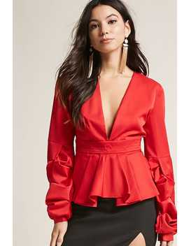 Plunging Pleated Top by Forever 21
