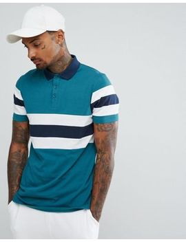 Asos Polo Shirt With Retro Panel Cut And Sew In Green by Asos