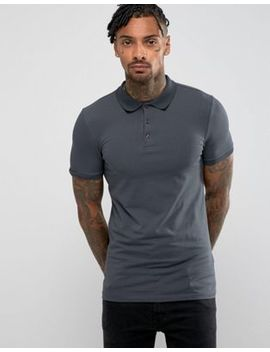 Asos Extreme Muscle Polo In Jersey In Washed Black by Asos