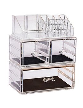 Sooyee Stackable Makeup Organizer 3 Deep Acrylic Cosmetics Storage Drawers And 16 Grid Lipstick Holder ,Clear, Jewelry Display Boxes Case ,3 Pieces Set(9.44x5.35x11.62 Inch) by Sooyee
