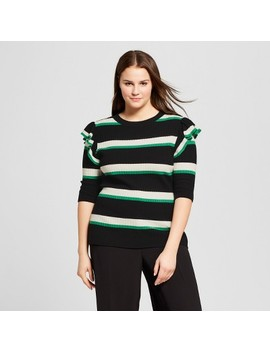 Women's Plus Size Striped 3/4 Sleeve Shoulder Frill Crew   Who What Wear™ by Who What Wear