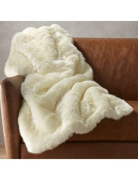 White Faux Fur Throw Blanket by Crate&Barrel