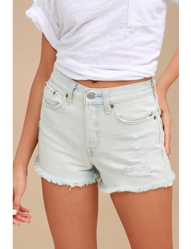 Wedgie Fit Light Wash Distressed Denim Shorts by Levi's