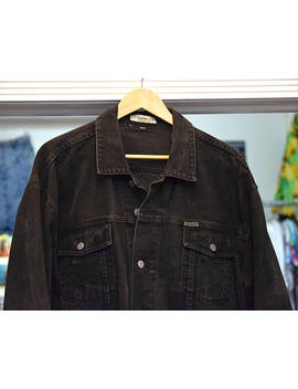 Guess Denim Coat | Black Distressed Jean Jacket. 80s   90s Vintage Broken In Size Large Oversized Men's Button Down. Made In Usa. Faded by Etsy