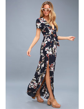 Cool Cruising Navy Blue Floral Print Maxi Dress by Lulus