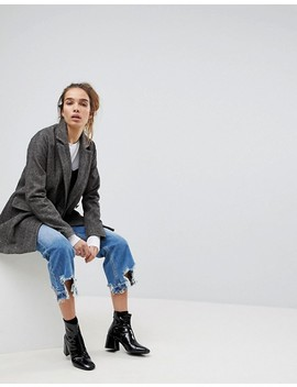 Pull&Bear Check Pea Coat by Pull&Bear