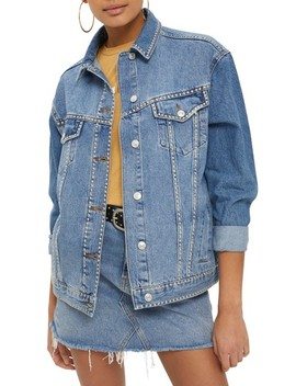 Studded Denim Jacket by Topshop