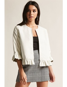 Faux Leather Ruffle Jacket by Forever 21