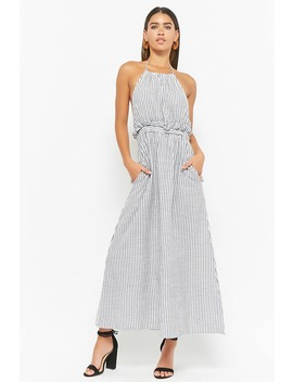Pinstriped Halter Dress by F21 Contemporary