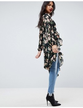 Asos Ultimate Maxi Ruffle Tea Blouse In Floral by Asos Collection