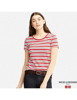 Women Idlf Single Jersey Striped Crewneck Short Sleeve T Shirt by Uniqlo