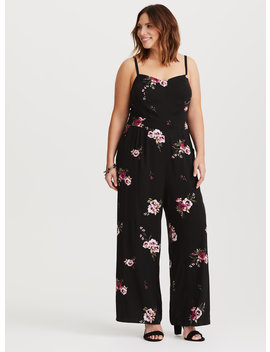 Black Floral Challis Jumpsuit by Torrid