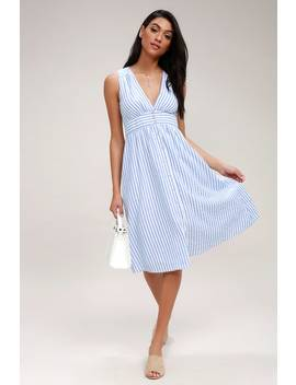 Nautical Lights Blue And White Striped Button Front Midi Dress by Lulus