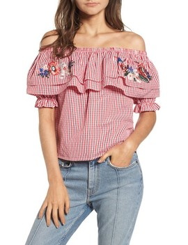 Embroidered Gingham Off The Shoulder Top by Lost + Wander