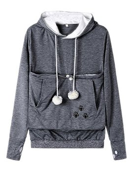 Blinvas Womens Pet Hoodies Kangaroo Pocket Sweatshirt, Long Sleeve Sweatshirt Kitten Dog Carriers Plus Size Tops by Blinvas
