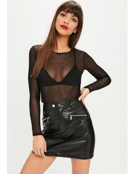 Black Mesh Crew Neck Long Sleeved T Shirt by Missguided