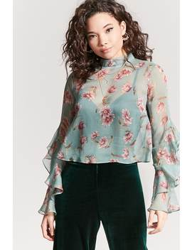 Sheer Floral Chiffon Top by Forever 21