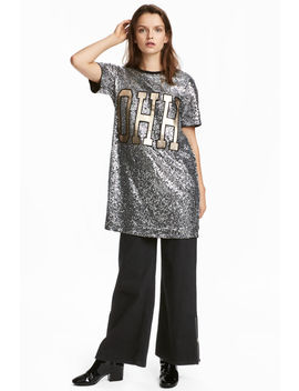 T Shirt Dress With Sequins by H&M