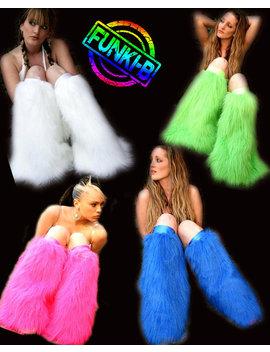 Fluffy Furry Leg Warmers Neon Plain Faux Fur Lots Of Colours Rave Punk Goth Cozy Plur Fluffies Rave Gogo by Funki B Clubwear