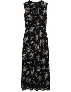 Asymmetric Floral Print Silk Dress by Vince